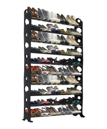 Black & Silver 50-Pair Shoe Rack