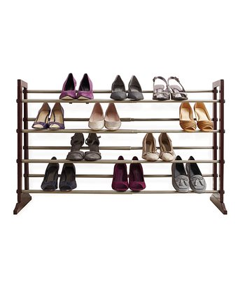 Mahogany & Gray Expandable Shoe Rack