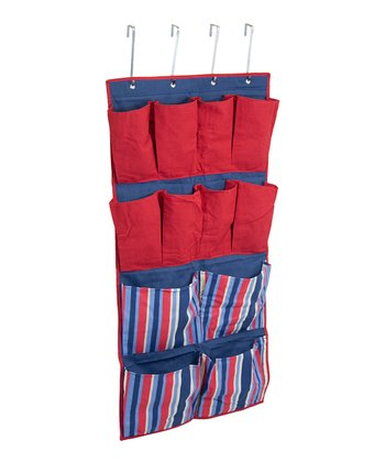 Blue & Red Stripe 12-Pocket Hanging Organizer