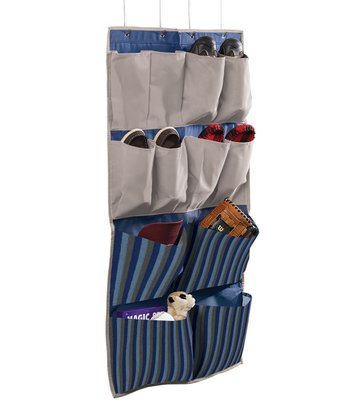 Gray & Blue Stripe 12-Pocket Hanging Organizer