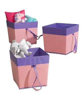 Pink & Purple Large Rolling Storage Bin