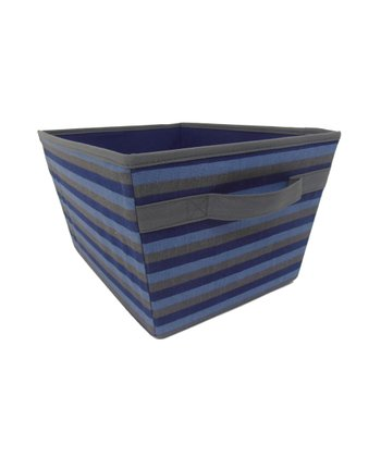 Gray & Blue Stripe Storage Bin