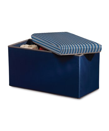 Gray & Blue Stripe Collapsible Storage Bench