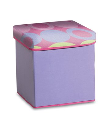 Purple & Yellow Dot Collapsible Storage Ottoman