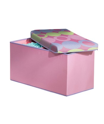 Pink Dot Collapsible Storage Bench