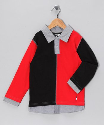 Black Color Block Layered Polo - Infant, Toddler & Boys