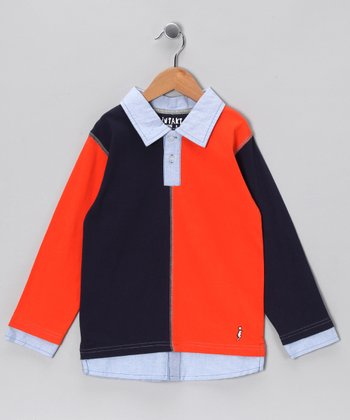 Navy Color Block Layered Polo - Infant, Toddler & Boys