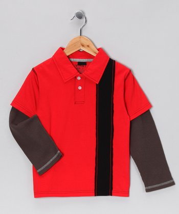 Red Layered Polo - Toddler & Boys