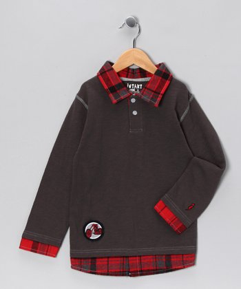 Charcoal Moto-Rider Layered Polo - Infant, Toddler & Boys