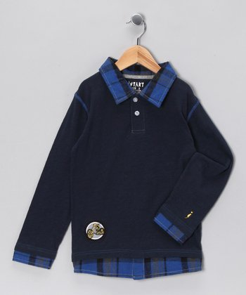 Navy Moto-Rider Layered Polo - Infant, Toddler & Boys