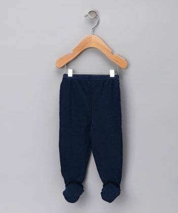 Navy Organic Footie Pants - Infant