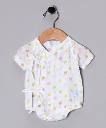 White Animal Organic Wrap Bodysuit - Infant