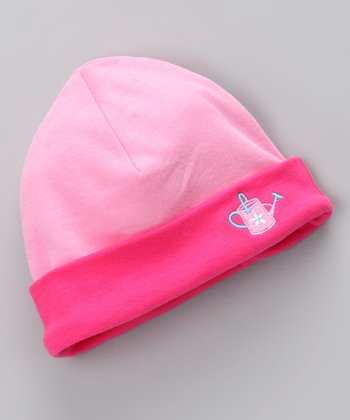 Pink Watering Can Organic Beanie - Infant