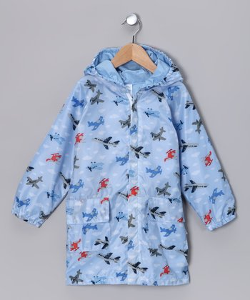 Light Blue Airplane Raincoat - Infant