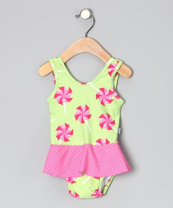 Green Pinwheel Skirted One-Piece - Infant & Toddler