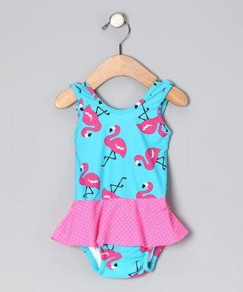 Aqua Flamingo Skirted One-Piece - Infant