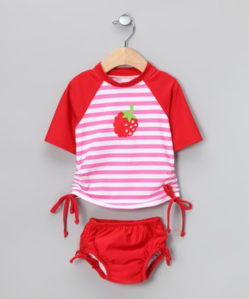 Red Raspberry Rashguard & Swim Diaper - Infant