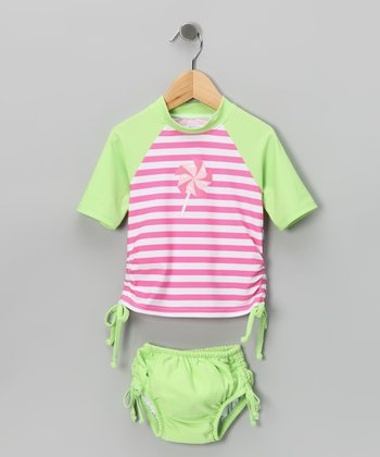 Lime & Pink Pinwheel Rashguard & Swim Diaper - Infant