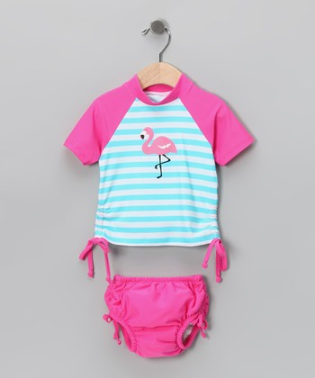Pink & Aqua Flamingo Rashguard & Swim Diaper - Infant
