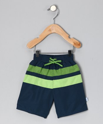 Navy & Green Stripe Boardshorts - Infant