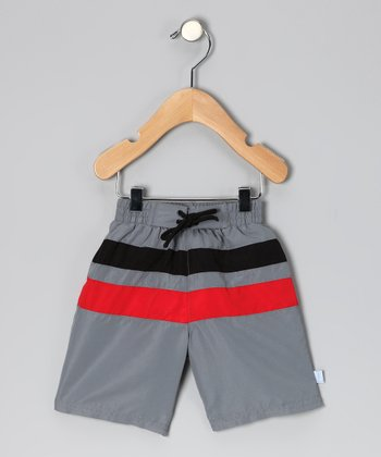 Gray & Red Stripe Boardshorts - Infant