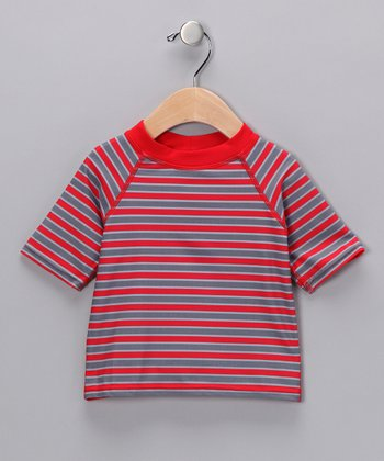 Red & Gray Stripe Rashguard - Infant & Toddler