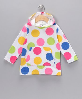 Yellow & Blue Polka Dot Hoodie - Infant & Toddler