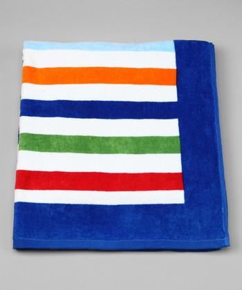 i play Orange & Green Stripe Beach Towel