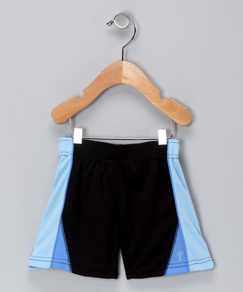 Black & Light Blue Shorts - Infant