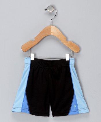 i play Black & Light Blue Shorts - Infant