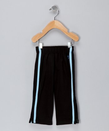 Black & Azure Track Pants - Infant