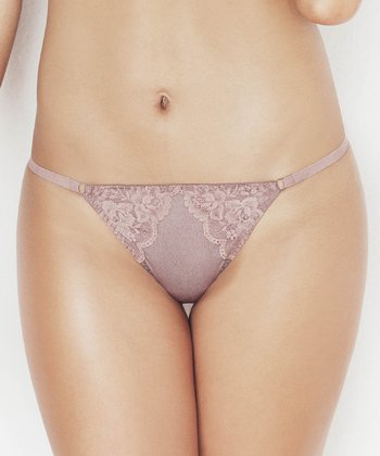 Taupe Lace Overlay G-String - Women