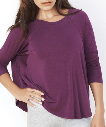 Plum Lounge-Around Dolman Tee - Women