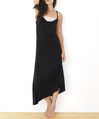 Black Lace Cowl Neck Nightgown - Women