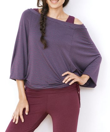 Purple Stripe Off-Shoulder Lounge Top - Women