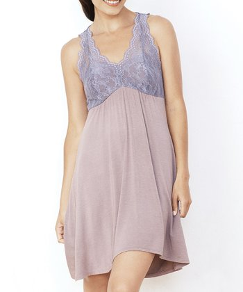 Dark Taupe & Amethyst Lace Nightgown - Women