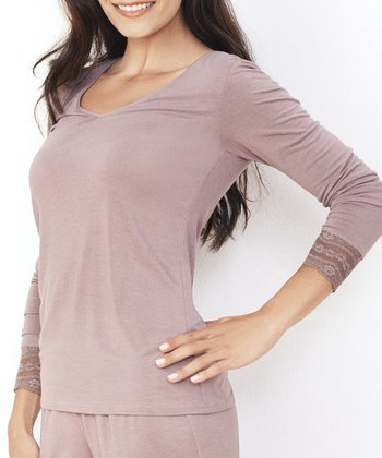 Dark Taupe Hint of Lace V-Neck Tee - Women