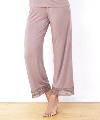 Dark Taupe Hint of Lace Lounge Pants - Women
