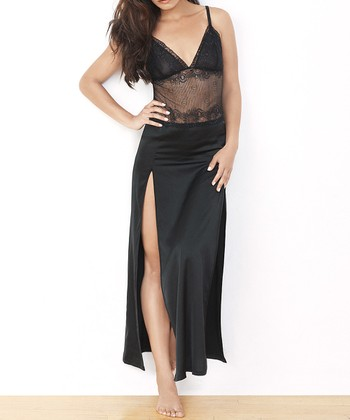 Black Satin Lace Sophie Maxi Nightgown - Women