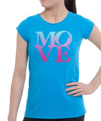 Kayak Blue 'Move' Rock The Sport Tee - Girls