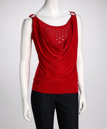 Red Studded Layered Tank