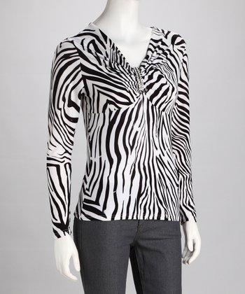 Black & White Zebra V-Neck Long-Sleeve Top