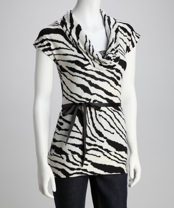 Black & White Zebra Cowl Neck Top