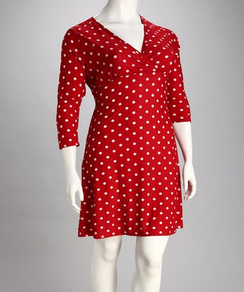Red & White Polka Dot Surplice Dress - Plus