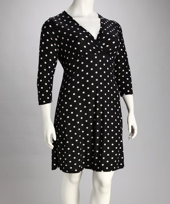 Black & White Polka Dot Surplice Dress - Plus