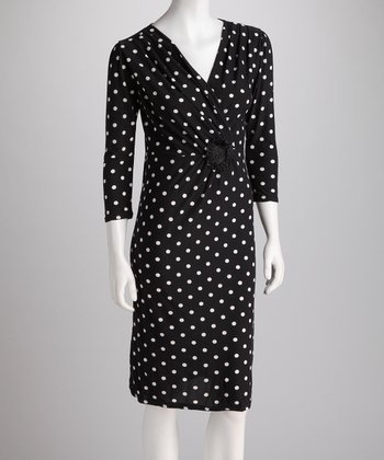 Black & White Polka Dot Surplice Dress