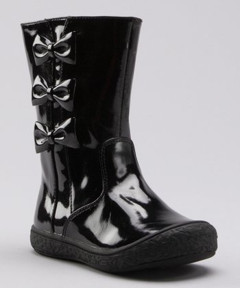 Black Patent Bow Boot