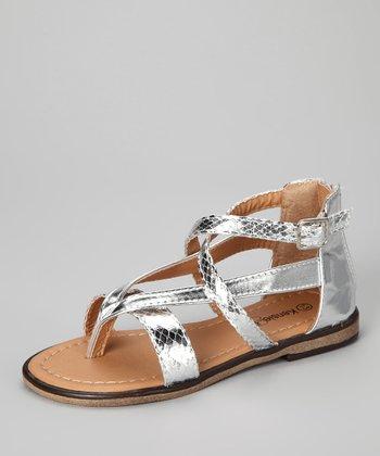 Silver Snake Ankle-Strap Sandal