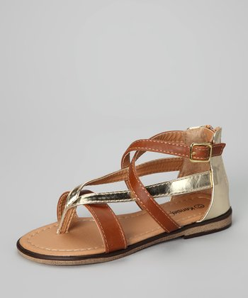 Tan & Gold Ankle-Strap Sandal