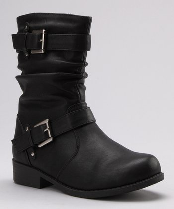 Black Ruched Buckle Boot
